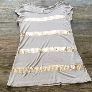 Kische Top Blush with Gold Sequins Small